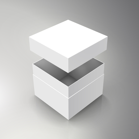 blank spun white paper box and floating separate lid 3d illustration, can be used as design element, isolated bicolor background, elevated view