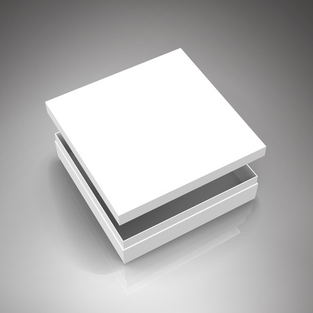 separation: blank white paper flat half open box with floating separate lid 3d illustration, can be used as design element, isolated gray background, elevated view