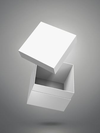 floating blank white paper box and separate lid 3d illustration, can be used as design element, isolated dark gray background, side view