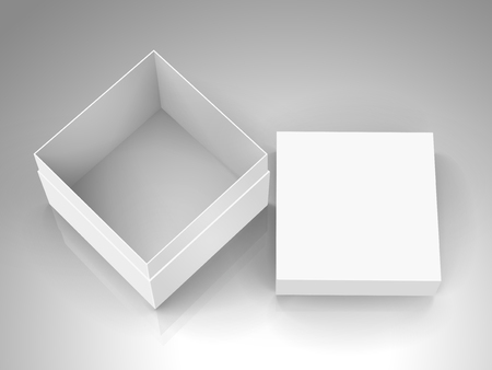 open tilt blank white paper box with separate lid 3d illustration, can be used as design element, isolated gray background, elevated view Illustration