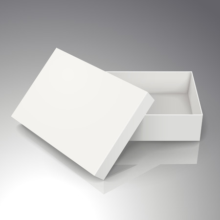 blank white paper half open box with leaning separate lid 3d illustration, can be used as design element, isolated bicolor background, elevated view