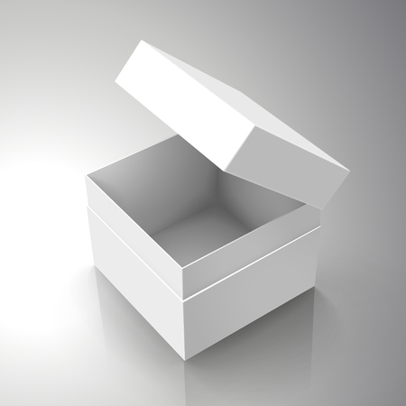 blank white paper left tilt half open box with slanting separate lid 3d illustration, can be used as design element, isolated bicolor background, elevated view
