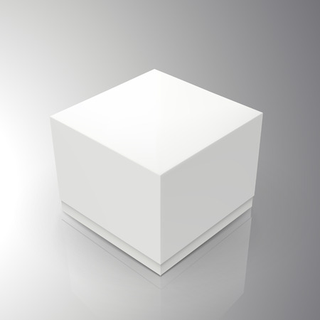 blank white spun square paper box 3d illustration, can be used as design element, isolated bicolor background, elevated view