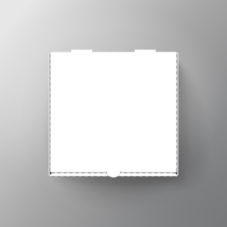 lege witte pizzadoos, kan worden gebruikt als ontwerpelement, geïsoleerde grijze achtergrond, 3d illustratie, bovenaanzicht