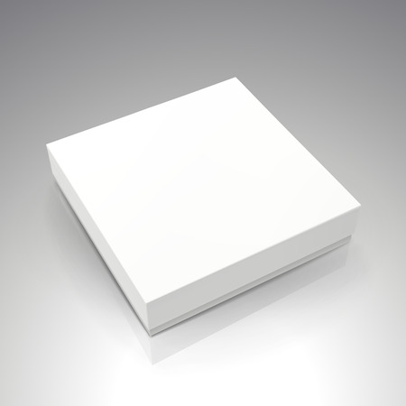 lege witte gesponnen papier platte doos 3d illustratie, kan worden gebruikt als ontwerpelement, geïsoleerde grijze achtergrond, verhoogde weergave Stock Illustratie