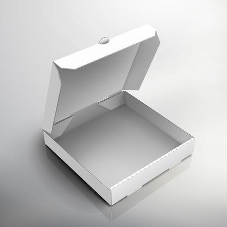 空白右オープンの白いピザの箱を傾けて、デザイン要素、孤立した灰色の背景、3 d イラスト、平面図として使用することができます。  イラスト・ベクター素材