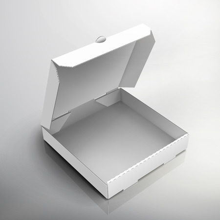 blank right tilt open white pizza box, can be used as design element, isolated gray background, 3d illustration, top view Illustration