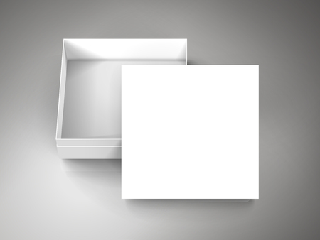 blank white paper flat half open box with leaning separate lid 3d illustration, can be used as design element, isolated bicolor background, elevated view