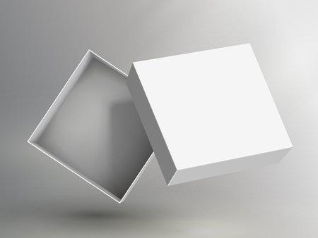slanting blank white flat paper open box and floating separate lid 3d illustration, can be used as design element, isolated bicolor background, side view