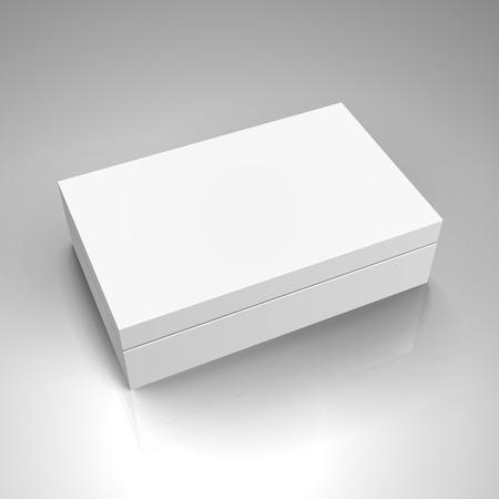 空白のホワイト ペーパー左傾斜別蓋 3 d イラスト ボックス、デザイン要素として使用することができます、背景が灰色、立面図を分離