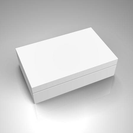 blank white paper left tilt box with separate lid 3d illustration, can be used as design element, isolated gray background, elevated view