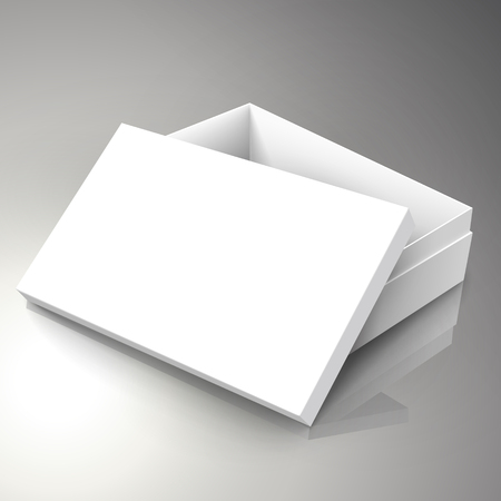 blank white right tilt half open paper box with leaning  separate lid 3d illustration, can be used as design element, isolated bicolor background, elevated view