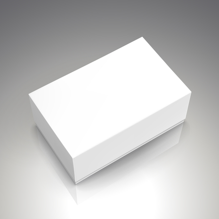 blank white left tilt paper box 3d illustration, can be used as design element, isolated bicolor background, elevated view