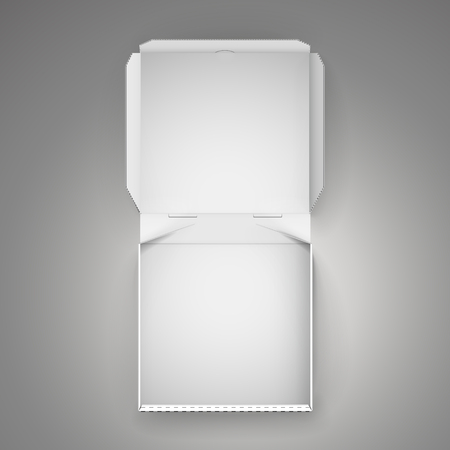 blank open white pizza box, can be used as design element, isolated dark gray background, 3d illustration, top view