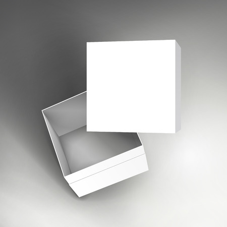 floating blank white paper box and separate lid 3d illustration, can be used as design element, isolated bicolor background, side view 矢量图像