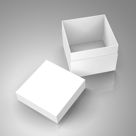 open tilt blank white paper box with separate lid 3d illustration, can be used as design element, isolated gray background, elevated view 矢量图像