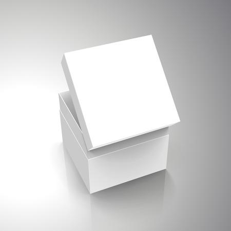 空白のホワイト ペーパー左傾斜別蓋 3 d 図を斜め半分開いているボックス、デザイン要素として使用することができます、背景が灰色、立面図を分
