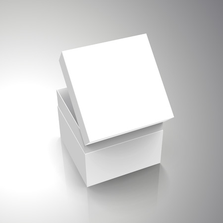 blank white paper left tilt half open box with slanting separate lid 3d illustration, can be used as design element, isolated gray background, elevated view