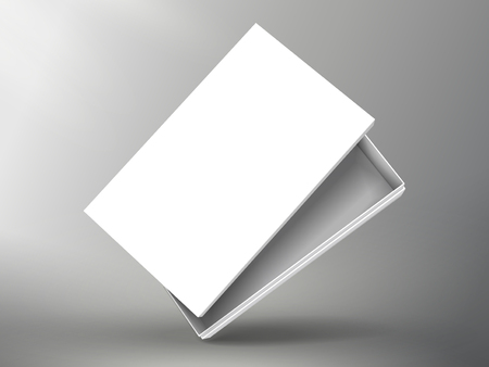 slanting blank half open white flat paper box with separate lid 3d illustration, can be used as design element, isolated bicolor background, side view Illustration