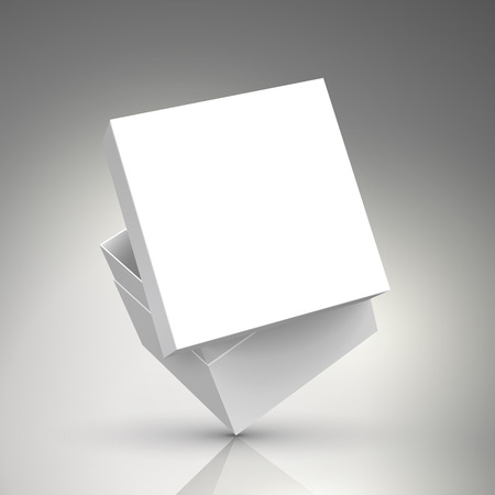 slanting blank white paper box with floating separate lid 3d illustration, can be used as design element, isolated bicolor background, side view