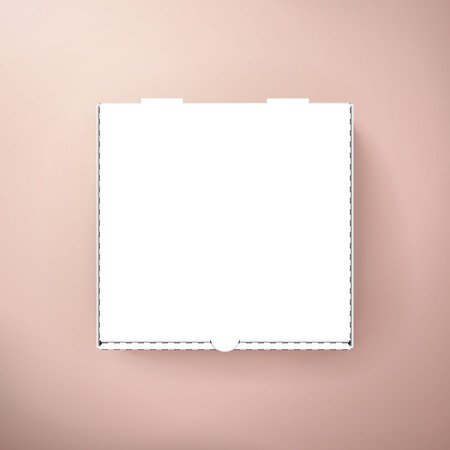 blank white pizza box, can be used as design element, isolated pink background, 3d illustration, top view Ilustrace