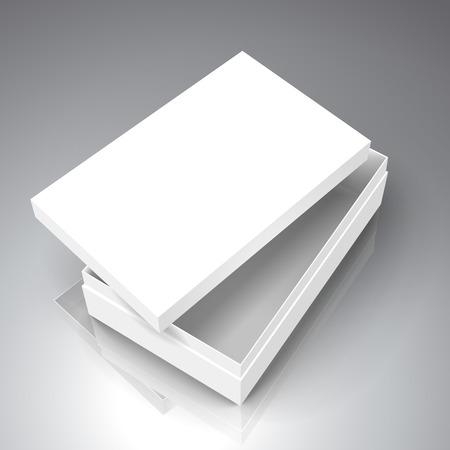 ホワイト用紙フラット半分別蓋、3 d 図で左側傾斜ボックスを開く、デザイン要素として使用することができます、二色の背景、立面図を分離