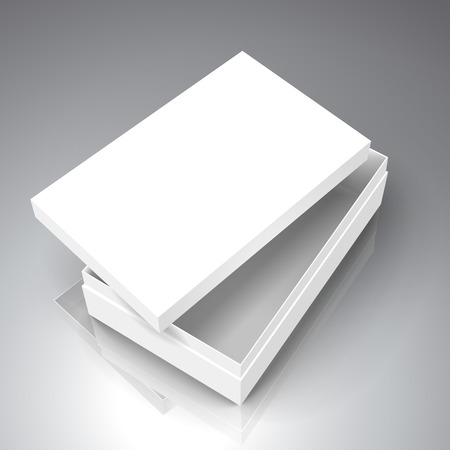 blank white paper flat half open left tilt box with separate lid, 3d illustration, can be used as design element, isolated bicolor background, elevated view Illustration