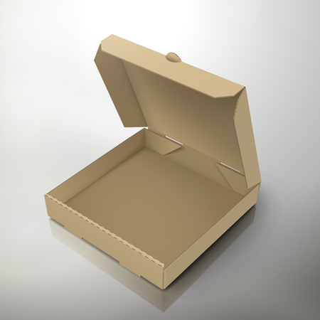 blank open left tilt brown pizza box, can be used as design element, isolated gray background, 3d illustration, elevated view