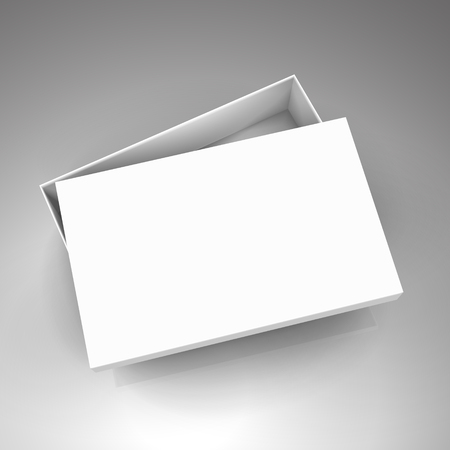 blank white paper flat half open left tilt box with separate lid 3d illustration, can be used as design element, isolated bicolor background, elevated view Illustration
