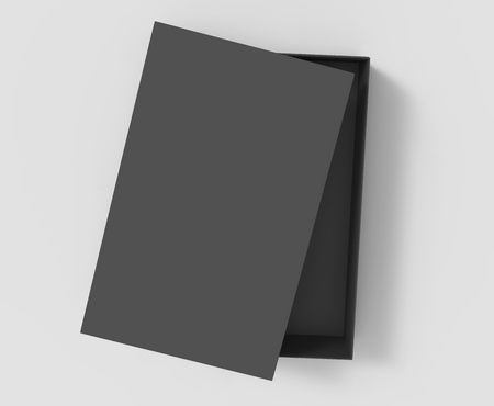 simulation: top view black 3d rendering blank rectangular tilt box with separate lid, isolated gray background Stock Photo