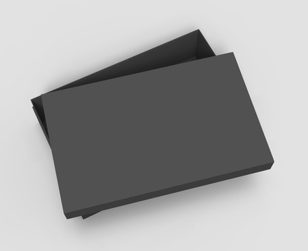 tilting: top view black 3d rendering blank rectangular tilt box with separate lid, isolated gray background Stock Photo
