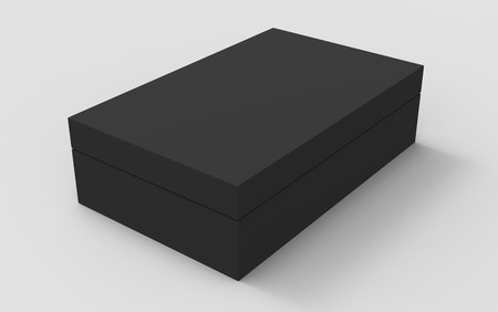black 3d rendering blank rectangular tilt box with separate lid, isolated gray background