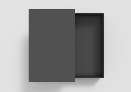 top view black 3d rendering blank rectangular box with separate lid, isolated gray background Фото со стока