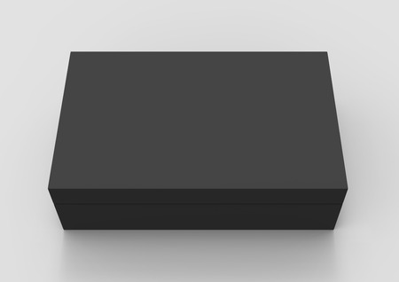 black 3d rendering blank rectangular box with separate lid, isolated gray background