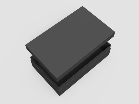 black 3d rendering blank rectangular tilt box with float separate lid, isolated gray background