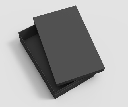 top view black 3d rendering blank rectangular tilt box with separate lid, isolated gray background Фото со стока