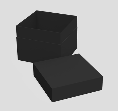black 3d rendering blank square tilt box with separate lid, isolated gray background