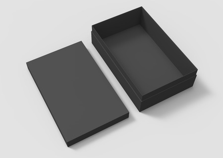 elevated view black 3d rendering blank rectangular tilt box with separate lid, isolated gray background