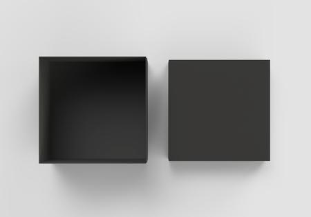 상위 뷰 격리 된 별도의 뚜껑, 3d 렌더링 빈 사각형 상자 검정색 회색 배경