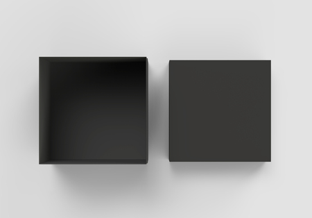 top view black 3d rendering blank square box with separate lid, isolated gray background