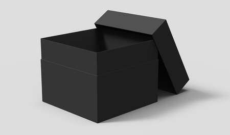 black 3d rendering blank square box with separate lid, isolated gray background Imagens