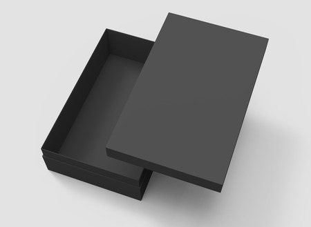 elevated view black 3d rendering blank rectangular tilt box with float separate lid, isolated gray background Stock Photo
