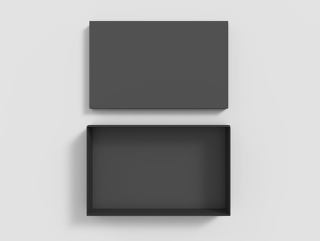 top view black 3d rendering blank rectangular box with separate lid, isolated gray background Stock fotó
