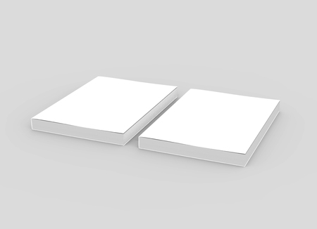 two blank left tilt 3d rendering thick books, isolated gray background, elevated view