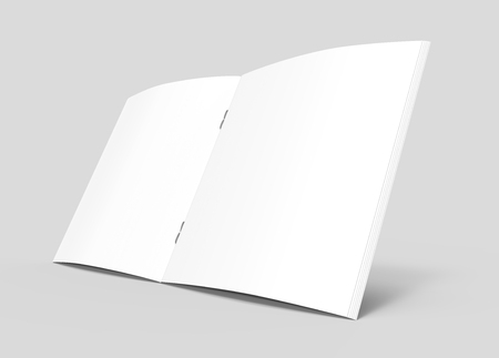 one sheet: blank left tilt 3d rendering open brochure, can be used as design element, isolated gray background, elevated view, close up Stock Photo