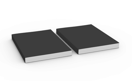 two black blank 3d rendering thick right tilt books, isolated white background, elevated view