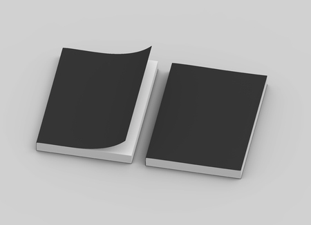 two black blank 3d rendering thick left tilt books, one page turned, isolated gray background, top view