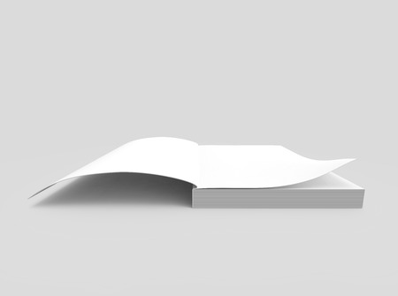 blank 3d rendering thick open book, isolated gray background, elevated view Stock Photo