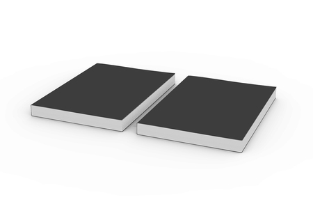 two black blank 3d rendering thick left tilt books, isolated white background, elevated view