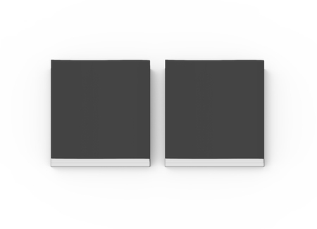 two black blank 3d rendering thick books, isolated white background, top view Stock Photo